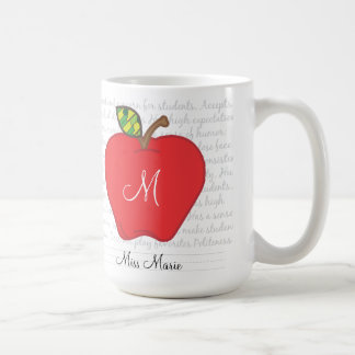 Monogram Apple Teachers Coffee Mug