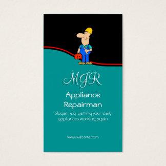 Monogram, Appliance Repairman, red swoosh Business Card