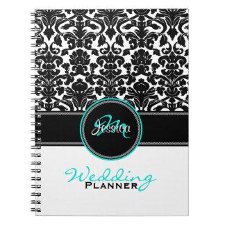 Monogram Aqua Black White Damask Wedding Planner Note Book