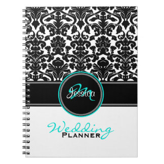 Monogram Aqua Black White Damask Wedding Planner Journals
