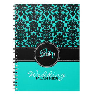 Monogram Aqua Black White Damask Wedding Planner Spiral Notebook