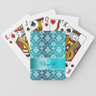 Monogram Aqua Blue and White Damask Playing Cards