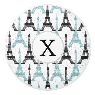 Monogram Aqua Chic Eiffel Tower Pattern Ceramic Knob