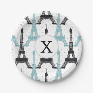 Monogram Aqua Chic Eiffel Tower Pattern Paper Plate