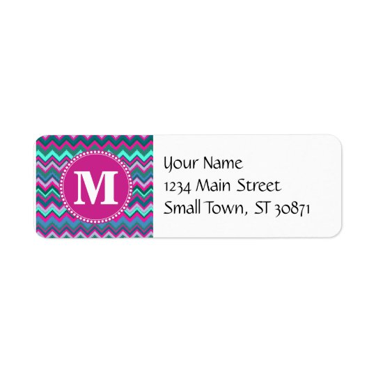 Monogram Aqua Teal Blue Pink Tribal Chevron Zigzag Return Address Label