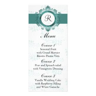 monogram aqua wedding menu custom rack cards