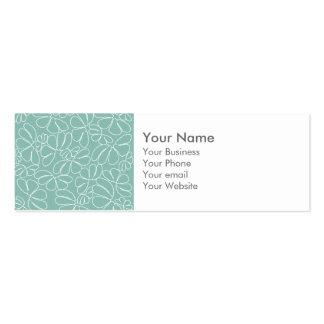 Monogram Aqua Whimsical Ikat Floral Doodle Pattern Business Card Template