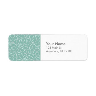 Monogram Aqua Whimsical Ikat Floral Doodle Pattern Return Address Label