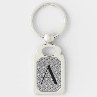 Monogram Art Deco Silver Wave Pattern Silver-Colored Rectangle Key Ring