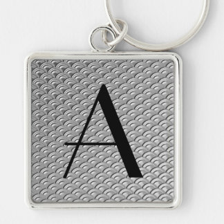 Monogram Art Deco Silver Wave Pattern Silver-Colored Square Key Ring