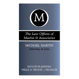 Monogram Attorney Business Card - Blue/Black