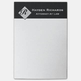 Monogram Attorney Lawyer Black Pinstripes Post-it Notes