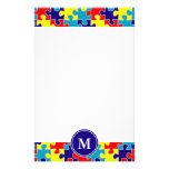Monogram Autism Awareness Aspergers Puzzle Pattern Custom Stationery