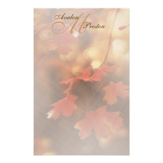 Monogram Autumn Fall Leaf Wedding Stationery