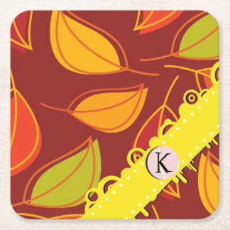 Monogram - Autumn Leaves, Fall Foliage - Orange Square Paper Coaster