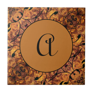 Monogram Autumn Leaves Silhouette Pattern Ceramic Tile