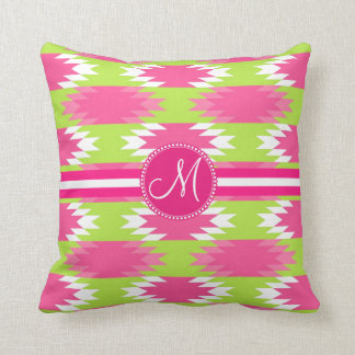 Monogram Aztec Andes Tribal Hot Pink Lime Green Cushion