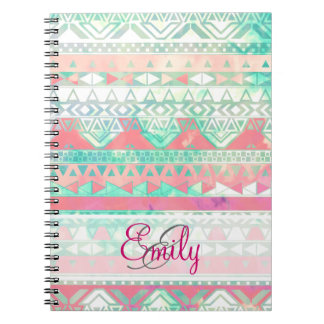 Monogram Aztec Pattern Pink Turquoise Watercolor Notebook