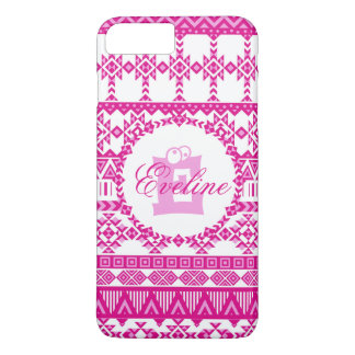 Monogram Aztec Pink Patten iPhone 7 Plus Case