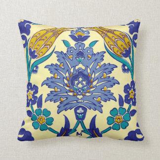 Monogram Azulejo Ceramic Style Vintage Ornament Throw Pillow