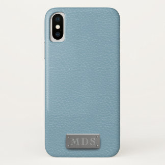 Monogram Azure Blue Leather Look iPhone X Case