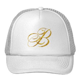 Monogram B Faux Gold Foil Metallic Letter Design Cap