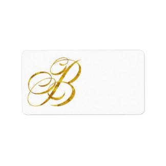 Monogram B Faux Gold Foil Metallic Letter Design Label