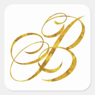 Monogram B Faux Gold Foil Metallic Letter Design Square Sticker