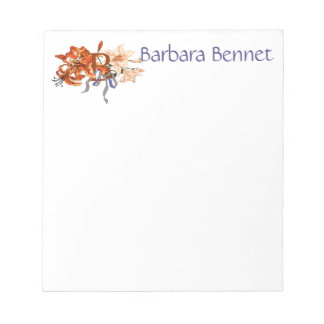 Monogram B in Floral Lily Bouquet Notepad