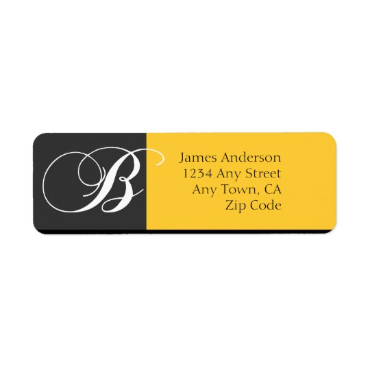 Monogram B Modern Address Labels Yellow Black