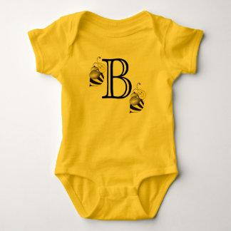 Monogram B Monogrammed Bumblebee Yellow Bumble Bee Baby Bodysuit