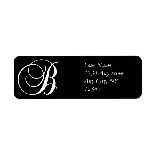 Monogram B Return Address Labels Black White