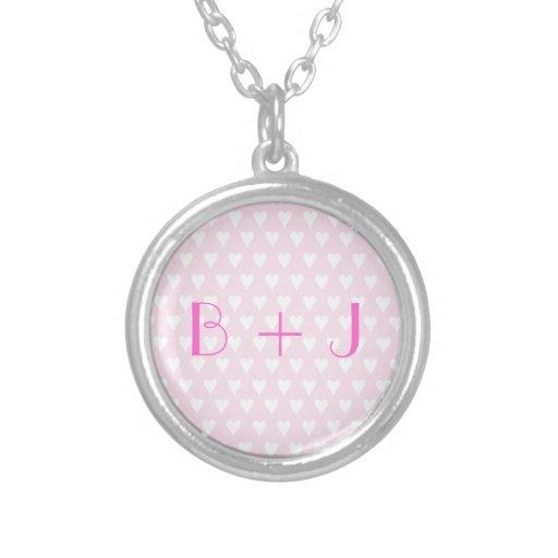 Monogram B sweethearts initials pink love hearts Pendant