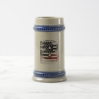 Monogram B USA Flag American Initial Beer Stein