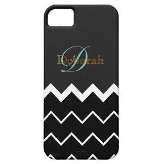 monogram ~ b&w chevron iPhone 5 cover