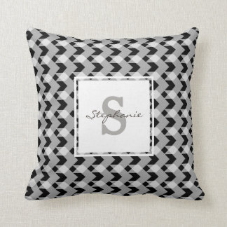 Monogram, B&W gingham chevron, personalise w name Throw Pillow