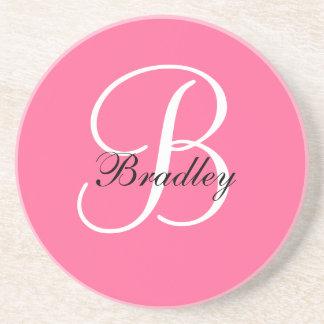 Monogram B Wedding Anniversary Coaster Pink