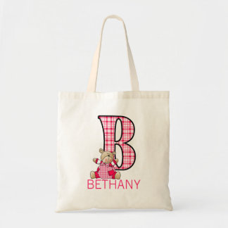 Monogram B with a Teddy Bear and Girl's Name Tote Bag