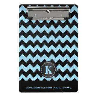 Monogram Baby Blue & Black Chevron Stripes Mini Clipboard