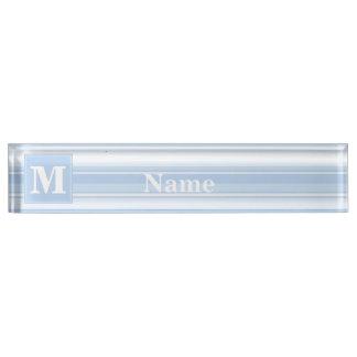 Monogram baby blue stripes name plates