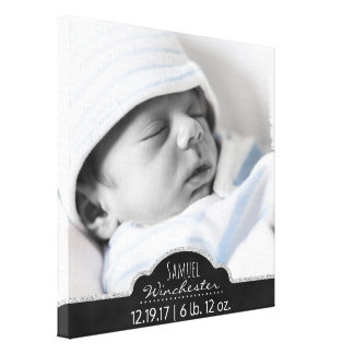 Monogram Baby Photo Modern Birth Announcement Canvas Print