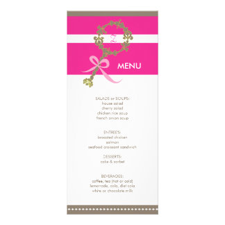 Monogram Baby Rattle Shower Menu Full Color Rack Card