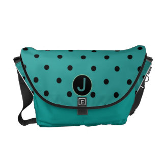 Monogram Bag in Turquoise with Black Dots Commuter Bag