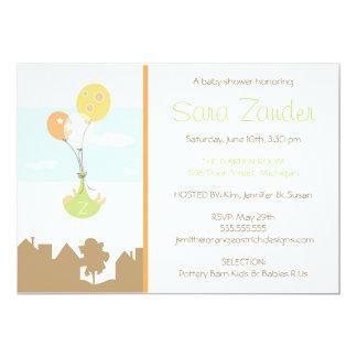 "Monogram Balloon Baby Shower Invitation 5"" X 7"" Invitation Card"