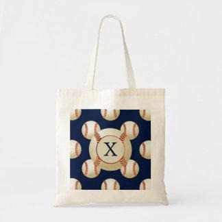 Monogram Baseball Balls Sports pattern Tote Bag