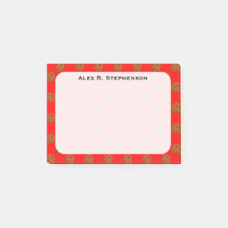 Monogram Basketball Balls on Red Post-it Notes
