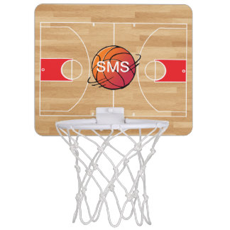 Monogram Basketball on Basketball Court Mini Basketball Hoop
