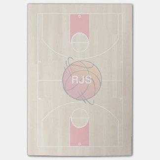 Monogram Basketball on basketball court Post-it Notes