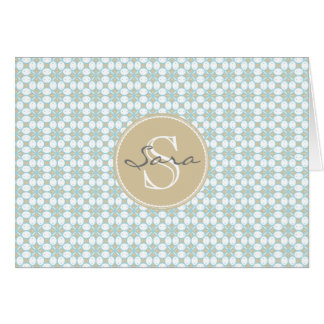 Monogram Batik Retro Notecards Card