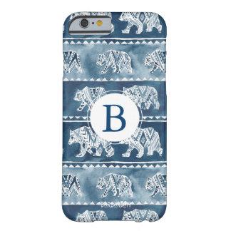 Monogram BEAR SPIRIT Navy Boho Tribal Barely There iPhone 6 Case